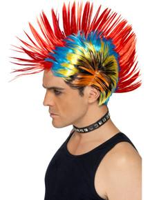 Colourful 80's Street Punk, Mohawk costume wig.