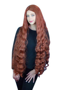 Ariel Mermaid Extra Long Auburn Wavy Costume Wig