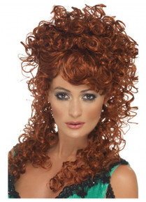 Saloon Girl Auburn Long and Curly Costume Wig