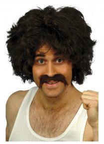 70's Retro Brown Costume Wig & Moustache