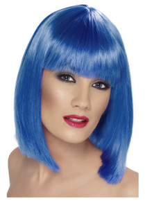 Long Blue Blunt Bob Glamour Wig