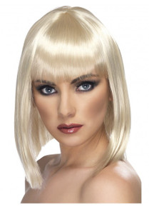 Long Blonde Blunt Bob Glamour Costume Wig