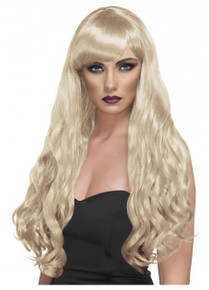 Desire Long Blonde Wavy Costume Wig with Fringe