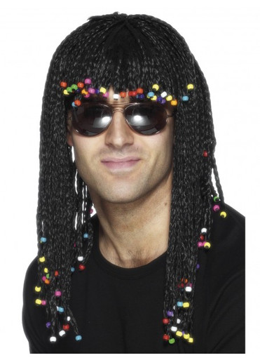 Black Braided with Beads Costume Wig