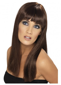 Brown Long Straight Glamourama Costume Wig