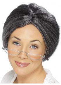 Granny Bun Grey Costume Wig
