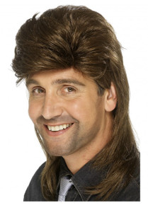 Brown Mullet 80's Costume Wig