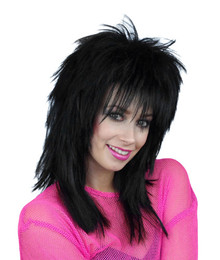 Sheena 80s Shaggy Black Costume Wig