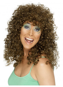 Brown 80's Boogie Babe Costume Wig