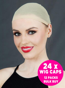 24 x Wig Stocking Caps (Nude) - 12 Packs / 2 Per Pack Hair Net