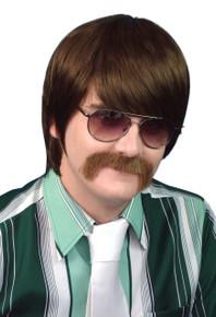 60's / 70's Guy Mod Brown Costume Wig