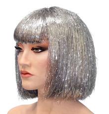 Deluxe Silver Tinsel Disco Bob Costume Wig