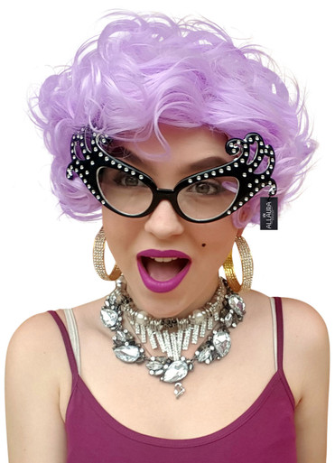 Dame Edna Inspired Purple Costume Wig