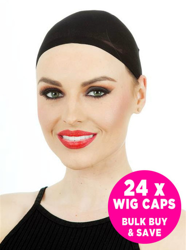 24 x Wig Stocking Caps (Black) - 12 Packs / 2 Per Pack