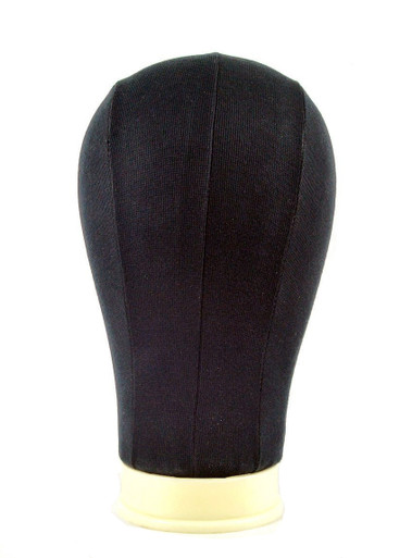 """22"""" Black Canvas Wig Block Head (55cm)"""