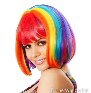 DELUXE Rainbow Bob Cosplay Deluxe Costume Wig