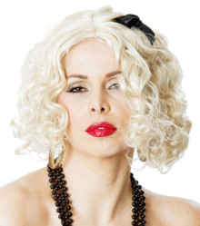 Madonna 80's Blonde Wig with Black Ribbon