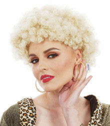 Kath n Kim Blonde Permed Afro 1970's Costume Wig - by Allaura