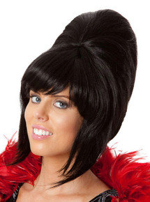 Beehive 1960's (Black) Costume Wig (High Quality Fibre)