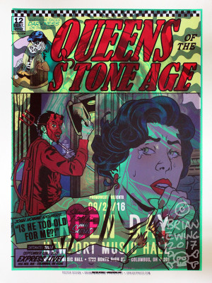 """  QUEENS OF THE STONE AGE GREEN DAY"" test print 5"