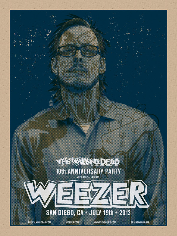 WEEZER WALKING DEAD CHOKING BLUE SET OF 4 PRINTS