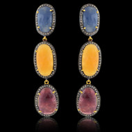 Multi Color Sapphire & Diamond Slice Earrings