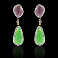 Emerald, Deep Pinkish Purple Sapphire Earrings
