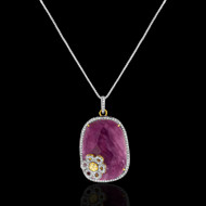 Pink Sapphire with Flower accent Pendant