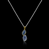 Faceted Blue Sapphire & Champagne Diamond Neclace