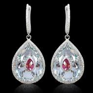 Diamond and Multi Color Stone Drop Earring