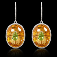 Diamond, Citrine, Peridot Oval Earrings