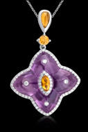 Diamond, Amethyst, Citrine Star Necklace