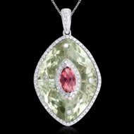 Diamond and Green Amethyst, & Pink Topaz Necklace