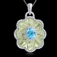 Diamond and Green Amethyst, & Blue Topaz Necklace