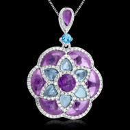 Diamond, Amethyst, & Blue Topaz Necklace