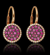 Ruby and Diamond Circle Earring