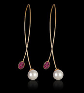 Ruby and Pearl Tipped Earring