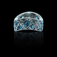 """""""Bubbles Collection"""" Blue Sapphire Rainbow Ring"""
