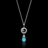 Blue Topaz and Diamond Swirl Pendant