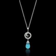 Blue Topaz and Diamond Swirl Pendant