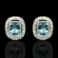 Aqua Marine and Diamond Cushion Stud Earrings