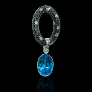 Blue Topaz Diamond and Black Diamond Necklace