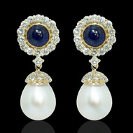 A drop in the Ocean Diamond Sapphire & Pearl Earrings