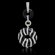 Diamond Ribbons on Onyx Pendant
