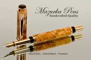 Handmade Fountain Pen Cherry Burl Gold- and Black