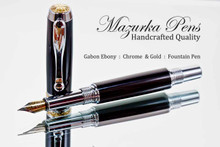 Hand Made Fountain Pen made from Gabon Ebony with Chrome and Gold finish.  Nib view of pen and cap.