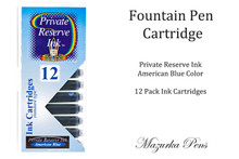 Fountain pen ink cartridges - American Blue color, Pack of 12 cartridges