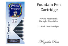 Fountain pen ink cartridges - Midnight Blues color, Pack of 12 cartridges