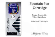 Fountain pen ink cartridges - Velvet Black color, Pack of 12 cartridges