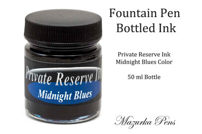 Fountain Pen Ink 50 ml Bottle - Private Reserve Ink,  Midnight Blues Ink Color